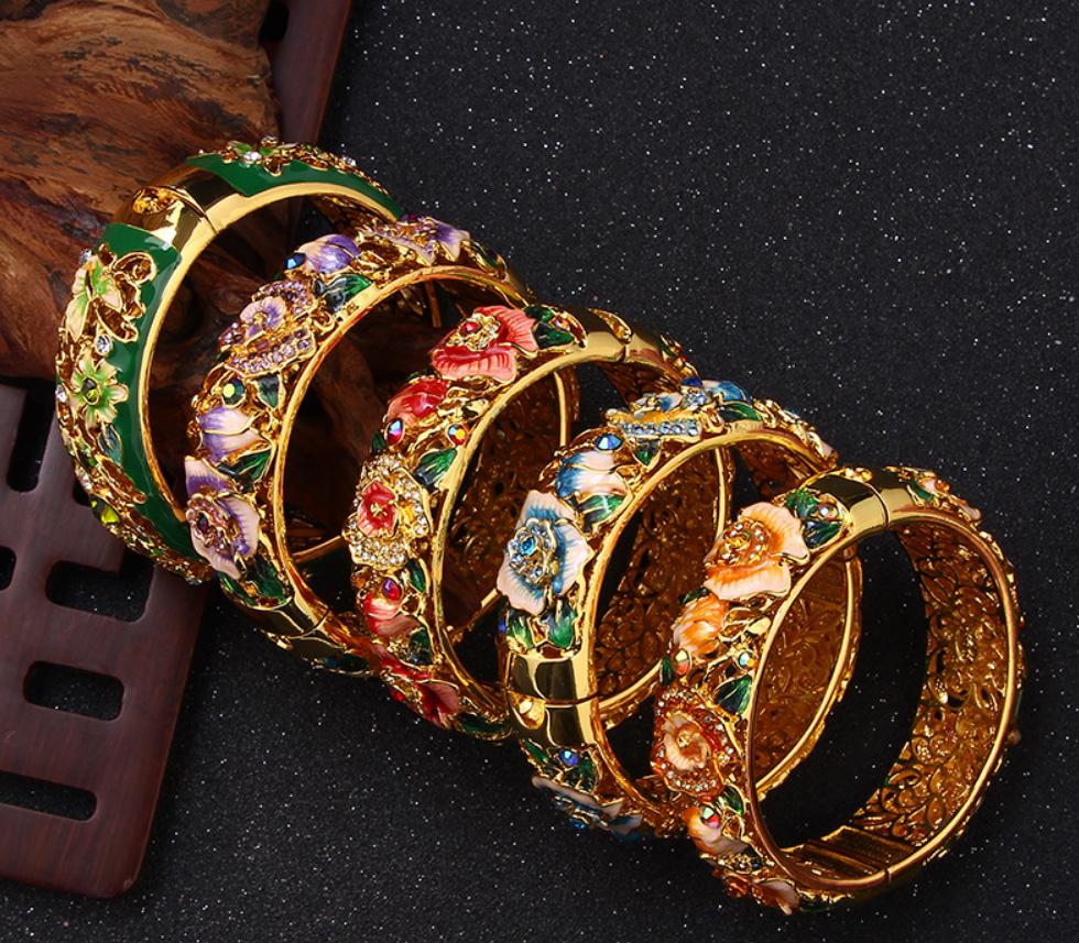Vintage Jewelry Cloisonne Handcrafted Enameled Gorgeous Rhinestone Gold Hinged Cuff Bracelet Bangles